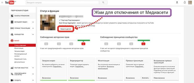 Как отключиться от партнерки Youtube