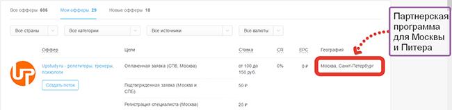 Партнерские программы СПб и Москвы