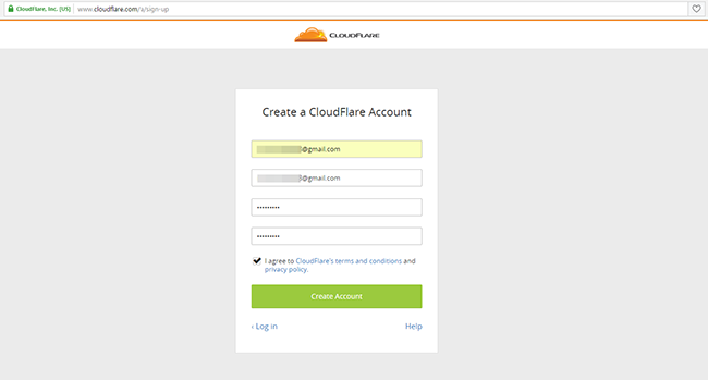 Регистрация на Cloudflare