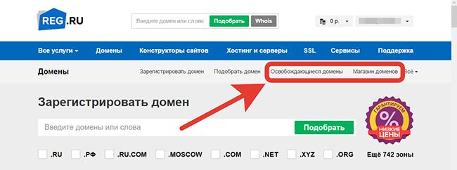 купить домен с историей пот